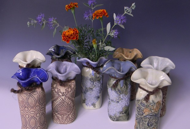 All available glazes on large (6 inch) bud vases