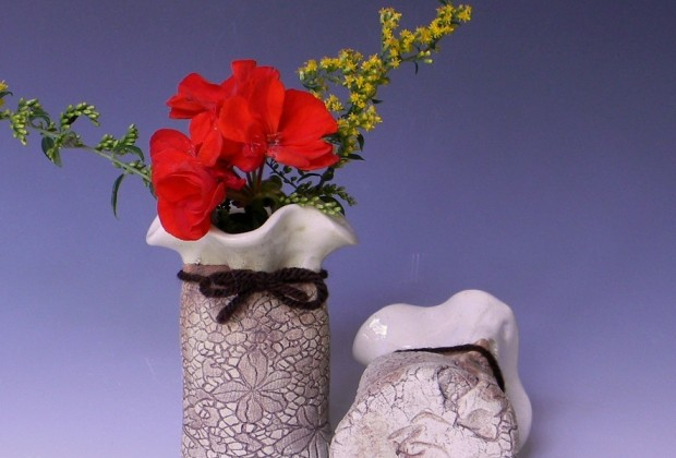Small (3 inch) ivory white bud vases with flowers